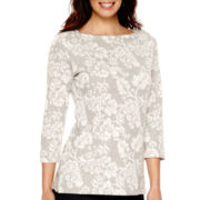 St. John's Bay® 3/4-Sleeve Floral Textured Sweatshirt