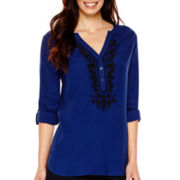 St. John's Bay® Long-Sleeve Roll-Tab Embroidered Tunic