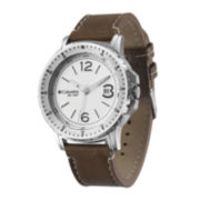Columbia Sportswear Co.® Ridgeback Mens Brown Leather Strap Sport Watch