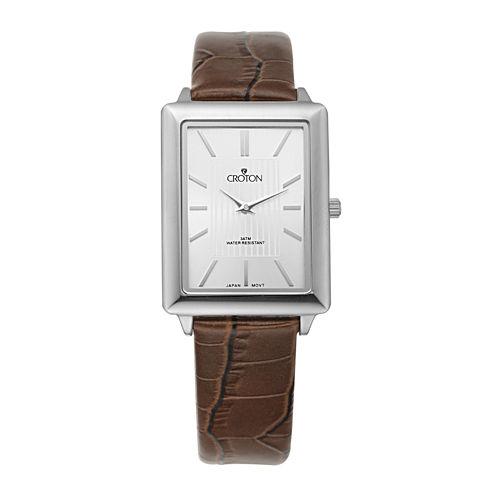 Croton Mens Silver-Tone Bezel Croc-Look Brown Leather Strap Rectangular Watch