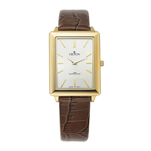 Croton Mens Gold-Tone Bezel Croc-Look Brown Leather Strap Rectangular Watch