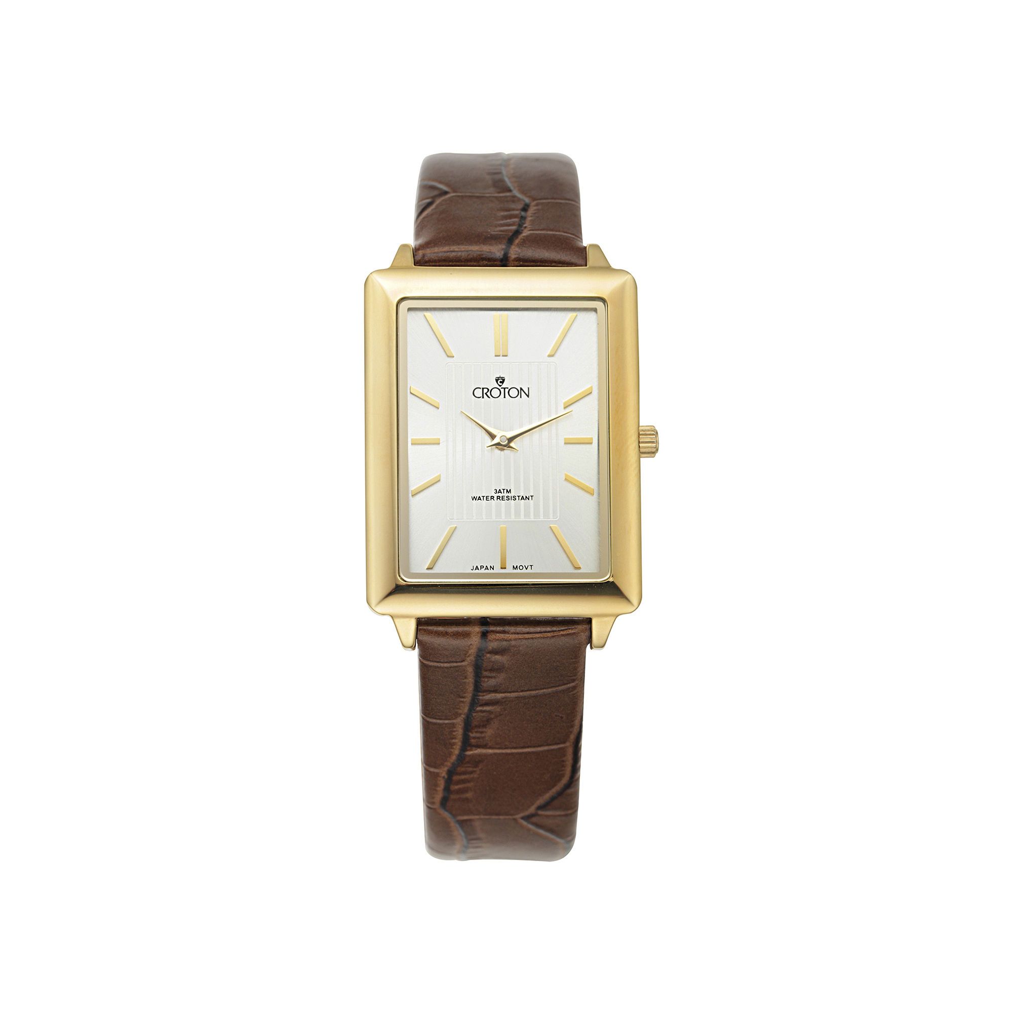 Croton Mens Gold-Tone Bezel Croc-Look Brown Leather Strap Rectangular Watch