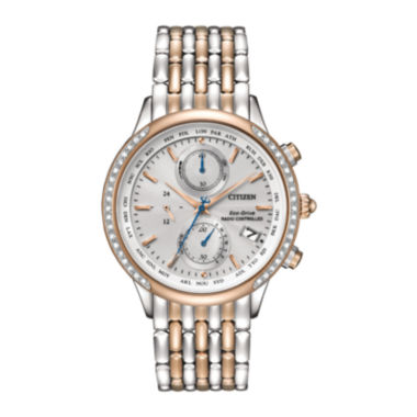 jcpenney.com | Citizen® Eco-Drive® World Chronograph A-T Womens Diamond-Accent Watch FC5006-55A