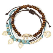Decree 4-pc. Aqua and Wood Stone Bracelet Set