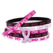 Breast Cancer Awareness 6-pc. Silicone Charm Bracelet Set