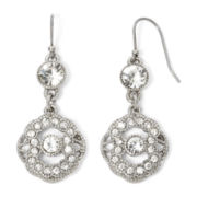Liz Claiborne® Crystal-Accent Silver-Tone Double-Drop Earrings