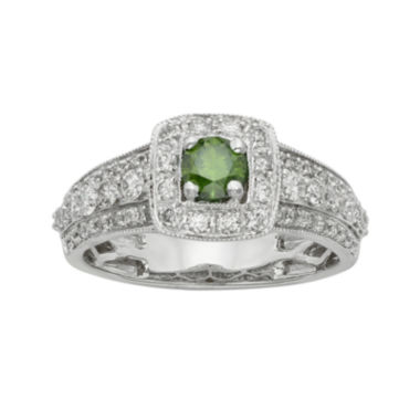 jcpenney.com | 1 CT. T.W. Certified White and Color-Enhanced Green Diamond Ring