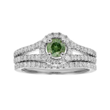 jcpenney.com | 1 CT. T.W. Certified White and Color-Enhanced Green Diamond Bridal Ring Set