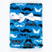 Mustache-Print Velboa Blanket