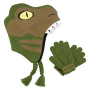 Dino Scandi Hat and Gloves Set - Boys 8-20