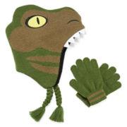 Dino Scandi Hat and Gloves Set - Preschool Boys 4-7