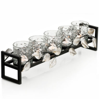 jcpenney.com | 5-Light Metal Leaf Linear Candle Holder