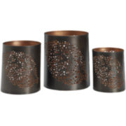 Luminaries Leaf Punch 3-pc. Candle Holder Set