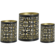 Luminaries Gold-Tone Geometric 3-pc. Candle Holder Set