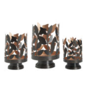 Luminaries Metal Leaf 3-pc. Candle Holder Set