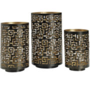 Luminaries Black Greek Key 3-pc. Candle Holder Set