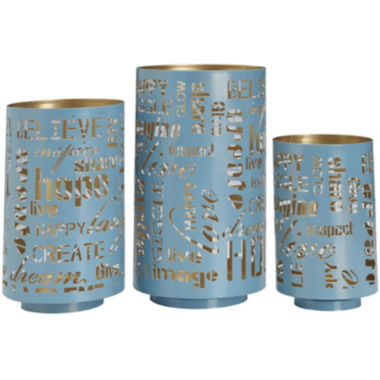 jcpenney.com | Set of 3 Teal Sentiment Luminaries Candle Holders