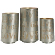 Live Laugh Love Set of 3 Silver Luminaries Candle Holders