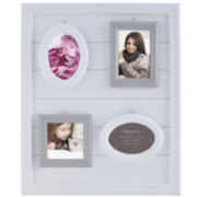 Burnes of Boston® White Gray 4-Opening Photo Frame
