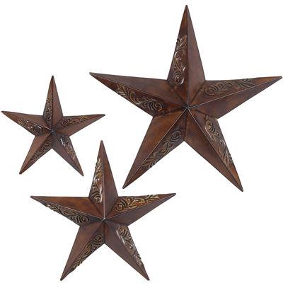 Metal Star Wall Art set of 3 rustic stars wall art - jcpenney