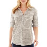 Liz Claiborne® 3/4-Sleeve Button-Front Knit Top - Petite