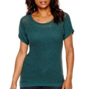 a.n.a® Short-Sleeve Open-Stitch High-Low Sweater