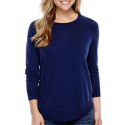 Stylus™ 3/4-Sleeve Curved Hem Sweater