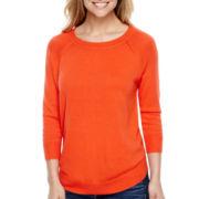 Stylus™ 3/4-Sleeve Curved Hem Sweater- Petite