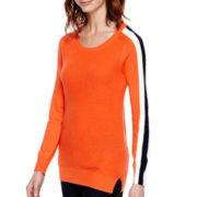 Stylus™ Long-Sleeve Shaker Striped Sweater- Petite