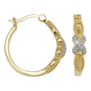 Diamond-Accent Hoop Earrings 18K Plated