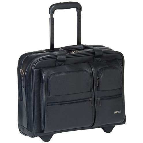 SOLO Leather CheckFast Rolling Laptop Case