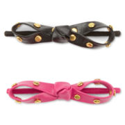 Total Girl® 2-pk. Vinyl Bow Hair Ties - Girls