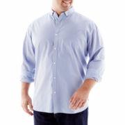 Claiborne Cutleria Grid Plaid Poplin Shirt-Big & Tall
