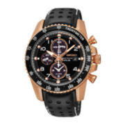 Seiko® Sportura Mens Black Leather Strap Solar Chronograph Watch SSC274