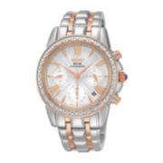 Seiko® Le Grand Sport Womens Diamond Rose-Tone Solar Chronograph Watch