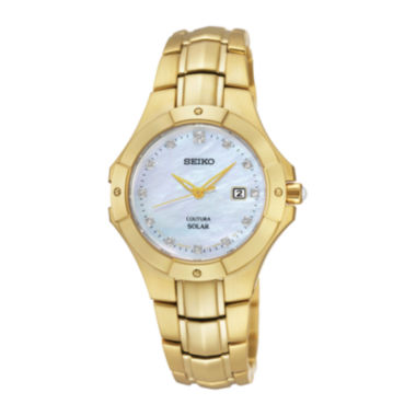 jcpenney.com | Seiko® Coutura Womens Diamond-Accent Gold-Tone Solar Watch SUT168