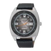 Seiko® Recraft Mens Black Leather Strap Automatic Watch SNKN01