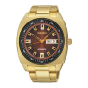 Seiko® Recraft Mens Gold-Tone Stainless Steel Automatic Watch SNKM98