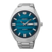 Seiko® Recraft Mens Silver-Tone Stainless Steel Automatic Watch