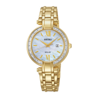 jcpenney.com | Seiko® Tressia Womens Diamond Gold-Tone Stainless Steel Solar Watch SUT182