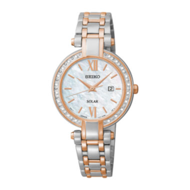 jcpenney.com | Seiko® Tressia Womens Diamond Rose-Tone Stainless Steel Solar Watch SUT184