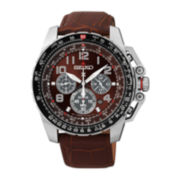 Seiko® Prospex Aviator Mens Brown Leather Strap Solar Chronograph Watch SSC279