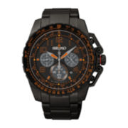 Seiko® Prospex Aviator Mens Black Stainless Steel Solar Chronograph Watch SSC277