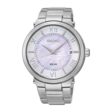 jcpenney.com | Seiko® Recraft Womens Pink Dial Stainless Steel Solar Bracelet Watch SNE885