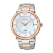 Seiko® Recraft Womens Rose-Tone Stainless Steel Solar Bracelet Watch