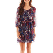 My Michelle Short-Sleeve Paisley Print Belted Chiffon Dress