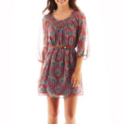 My Michelle Short-Sleeve Print Belted Chiffon Dress