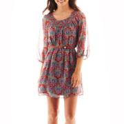 My Michelle Short-Sleeve Print Belted Chiffon Dress