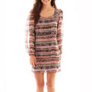 Speechless® Long-Sleeve Print Shift Dress