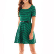 Speechless® Short-Sleeve Striped Belted Skater Dress